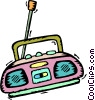 Vector Clip Art graphic  of a portable CD players