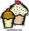 Vector Clip Art picture  of a cup cakes