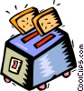 Vector Clipart illustration  of a toaster with two pieces of