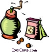 coffee grinder and bag of coffee beans Vector Clipart picture