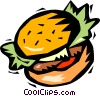 Vector Clip Art image  of a hamburger with lettuce and