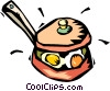 eggs cooking in a frying pan Vector Clipart illustration