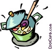 Vector Clipart graphic  of a pot of soup simmering on the