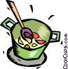 pot of soup simmering on the stove Vector Clipart illustration