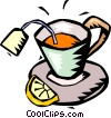 Vector Clipart graphic  of a cup of lemon tea