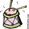 Vector Clipart image  of a drum with drumsticks