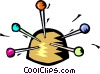 pin cushion with pins Vector Clip Art graphic