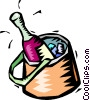 Vector Clip Art image  of a champagne cooling in an ice