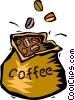 Vector Clip Art graphic  of a bag of coffee beans