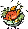 Vector Clip Art picture  of a roast turkey on a serving