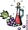 Vector Clipart graphic  of a wine decanter with grapes