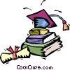 graduation hat with school books and diplomas Vector Clipart illustration