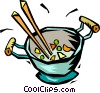 Vector Clipart picture  of a stir fry in a wok