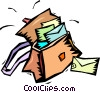 mail bags full of letters Vector Clip Art picture