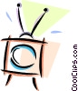 Vector Clip Art graphic  of a television with rabbit ears