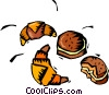 Vector Clip Art graphic  of a croissants with other baked