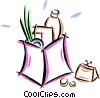 change purse with a bag of groceries Vector Clipart illustration