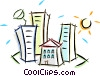 houses and apartment buildings Vector Clip Art graphic