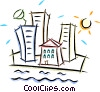 Vector Clipart graphic  of a houses and apartment buildings