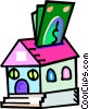Vector Clipart illustration  of a putting money into your house
