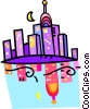 cityscape reflecting in the water Vector Clipart illustration