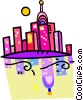 Vector Clip Art image  of a cityscape reflecting in the