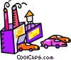 Vector Clip Art graphic  of an automotive factory