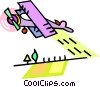 Vector Clipart illustration  of a crop dusting