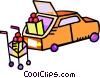 car with groceries being loaded into it Vector Clip Art image