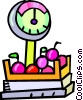 Vector Clip Art picture  of a produce being weighed
