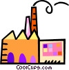 Vector Clipart picture  of a factory with smokestacks