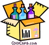 wine bottles in a shipping case Vector Clip Art graphic