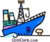 Vector Clip Art graphic  of a ship at the dock
