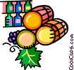 barrels of wine with wine bottles Vector Clipart illustration