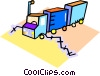 Vector Clipart image  of a transport trucks