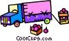 transport truck with boxes of fruit Vector Clipart picture