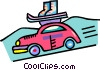 Vector Clipart graphic  of a car with ski equipment on the