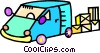 Vector Clipart image  of a delivery van with shipping