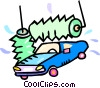 Vector Clipart graphic  of a car in the car wash