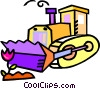 Vector Clipart graphic  of a bulldozer