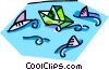 Vector Clipart picture  of a paper boat with fish in the