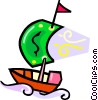 Vector Clipart image  of a sailboat on the ocean