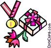 Vector Clipart graphic  of a first place medal with flowers