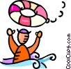 Vector Clip Art graphic  of a man overboard life preservers