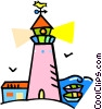 Vector Clip Art picture  of a lighthouse with a weathervane