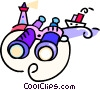 lighthouse binoculars and a boat Vector Clip Art picture