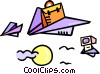 paper airplane with briefcase Vector Clipart picture