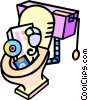 Vector Clip Art graphic  of a computer equipment down the toilet