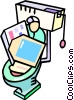 flushing computer equipment down the toilet Vector Clipart image