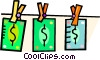 Vector Clipart picture  of a dollar bills hanging on the